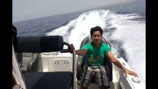 A Drive with the Hysucat (Hydrofoil Supported Catamaran) with twin 150 Etecs