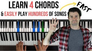 Learn 4 Chords to Easily Play Hundreds of Songs on Piano (Beginners Piano) видео