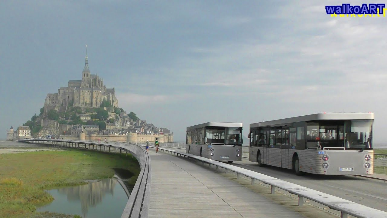 mont saint michel navettes pendelbusse shuttle buses 4k video youtube. Black Bedroom Furniture Sets. Home Design Ideas