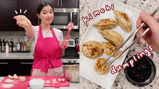 making kimchi tofu dumplings from scratch (김치만두)   cooking with nina