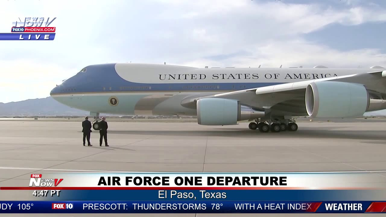 FAREWELL BORDERLAND: President Trump, First Lady Depart El Paso on Air Force One