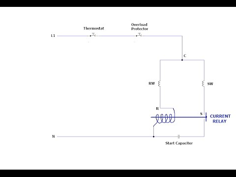 Domestic Refrigerator Wiring Diagram simple - current relay - YouTube