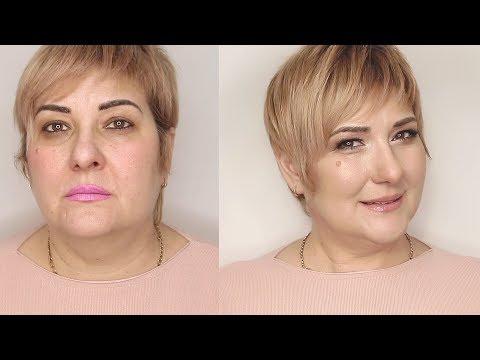 Возрастной макияж 50+. Коррекция овала лица и зоны вокруг глаз.