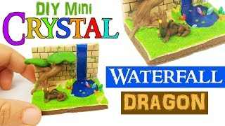 DIY MINIATURE DRAGON CRYSTAL WATERFALL ENVIRONMENT  Polymer Clay & Resin Tutorial DIY Dollhouse