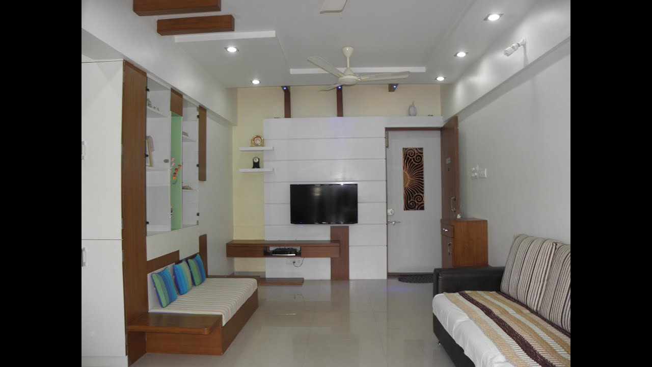 2bhk total interior design work in pashan pune youtube for Flat interior design ideas