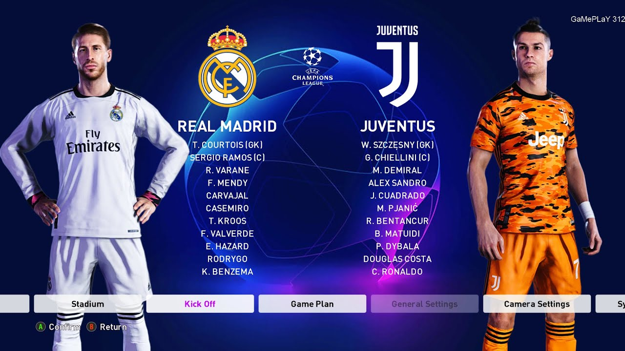 Pes 2020 Real Madrid Vs Juventus Uefa Champions League Ucl New Kits 20 21 Season Youtube
