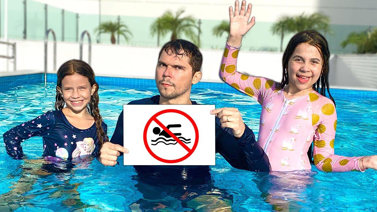 SARAH aprende as REGRAS DE CONDUTA para CRIANÇAS na PISCINA - Rules of Conduct for Children in Pool