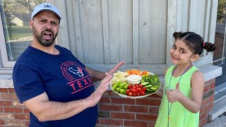 Sally Pretend Play Preparing Healthy Food For Dad| Funny Kids Video
