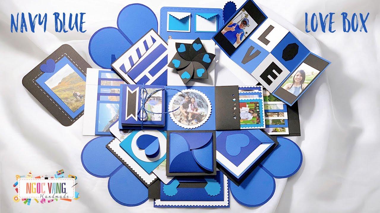 idea navy blue explosion box  love box xanh navy  40