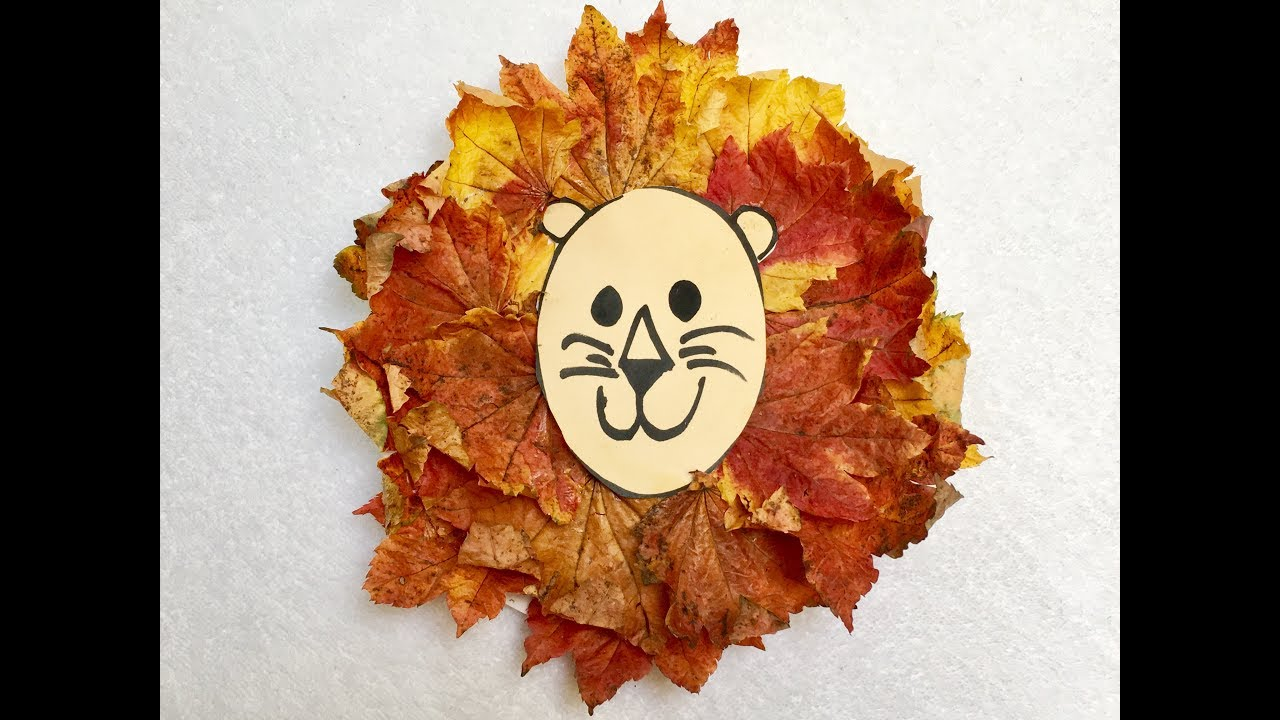 lion leaf craft craft with fall leaves 2351