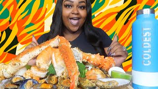 MEGA PRAWNS + GIANT KING CRAB LEGS + CAJUN BUTTER SAUCE SEAFOOD BOIL MUKBANG 먹방 EATING SHOW
