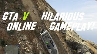 GTA V (5) Hilarious Online Gameplay! Jetski & Boat Down Mountain!