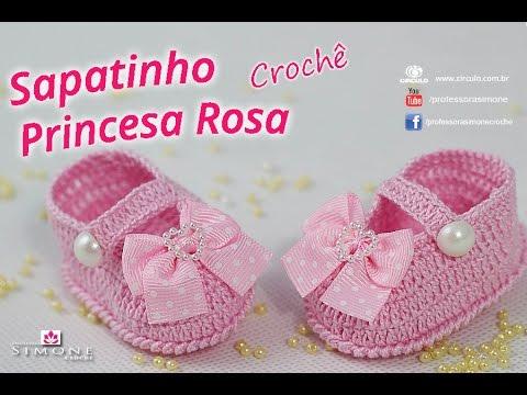 6a530459d Sapatinho de crochê Princesa Rosa - passo a passo - #ProfessoraSimone # crochet
