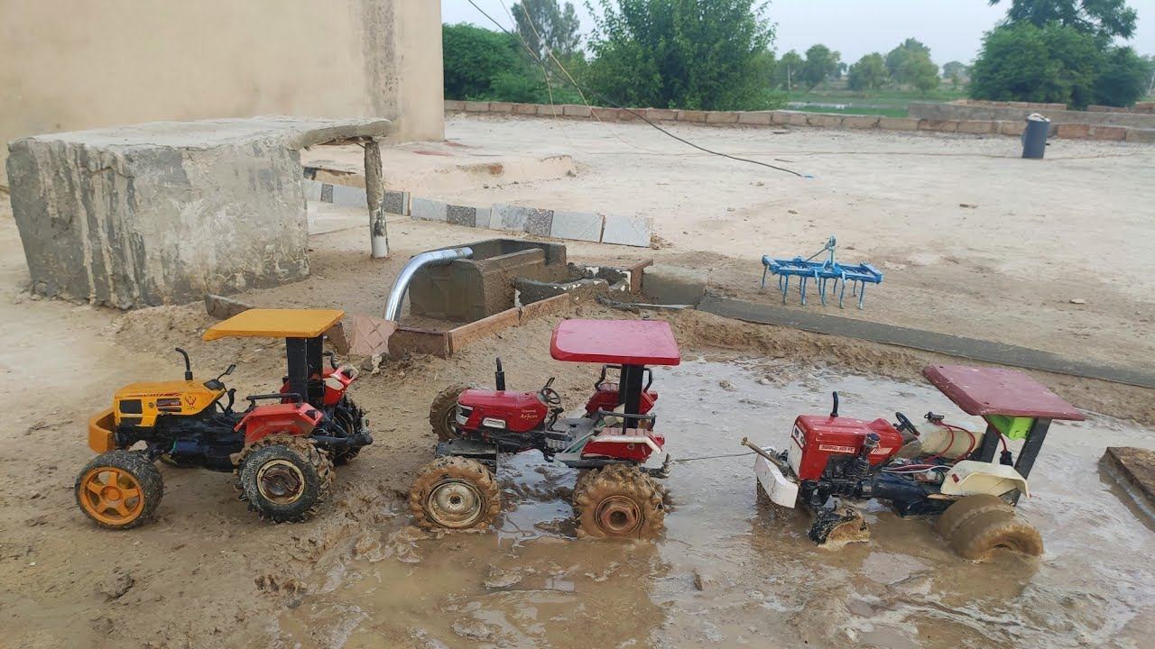 Swaraj 855 Remote control Homemade Tractor in Mud with HMT and Arjun 4×4