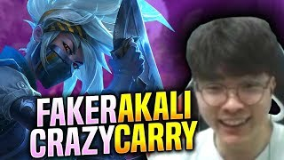 FAKER CRAZY CARRY WITH AKALI! - SKT T1 Faker Plays Akali vs Jayce Mid! | S9 KR SoloQ Patch 9.15