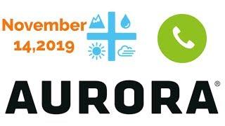 Aurora First Quarter 2020 earning call!