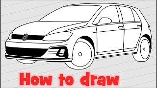 How to draw a car Volkswagen Golf GTI 2018