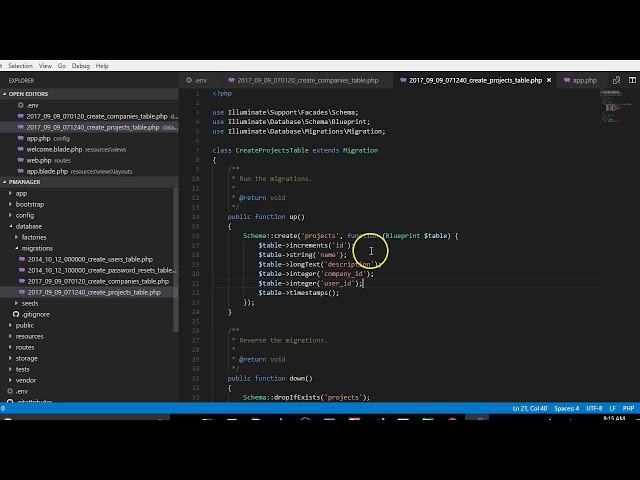 Laravel 5 5 tutorial   9   create tasks migration