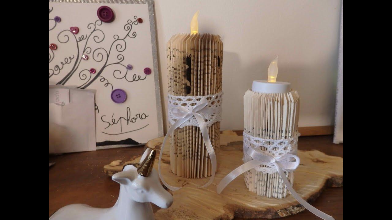 atelier diy pliage de livre 2 bougies illumin es youtube. Black Bedroom Furniture Sets. Home Design Ideas