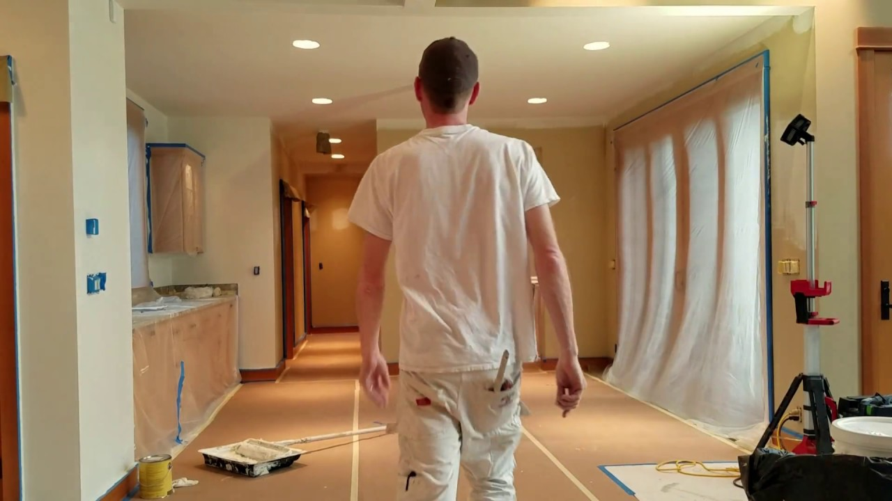 How To Roll A Big Ceiling Fast And With Quality, Using Benjamin Moore Paint.