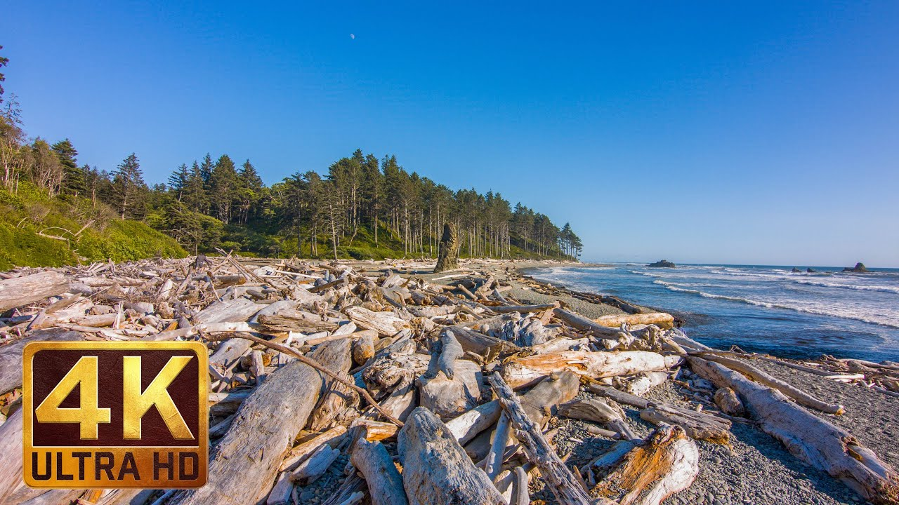 Ruby Beach Summertime, 4K Ultra HD Relaxation Video, Olympic Peninsula's views, WA (3 hours)