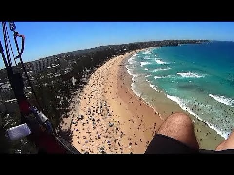 Paragliding Blue Fish Point to Manly Beach and Bronte Beach Feb 2014 HD