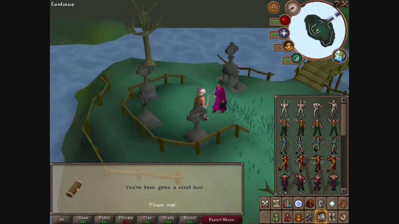 Runescape (also 2007) Medium Clue Scroll Panic by the mausoleum in  Morytania