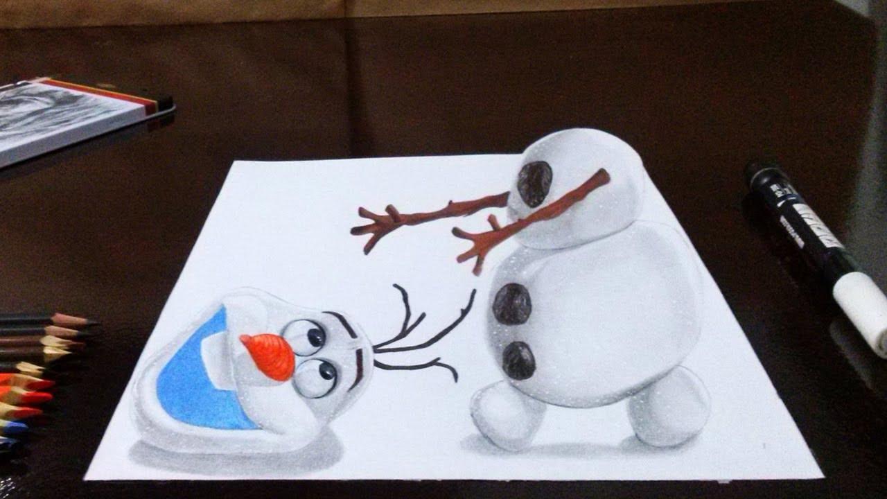Como Desenhar O Olaf Frozen Em 3d Passo A Passo How To Draw Olaf From Frozen Em 3d