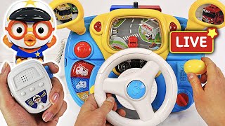 Pororo Police Driving play. Go! Pororo! Drive a Police car and arrest the villain! | PinkyPopTOY