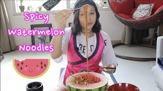 Mukbang Recipe | Spicy Watermelon Korean Noodles