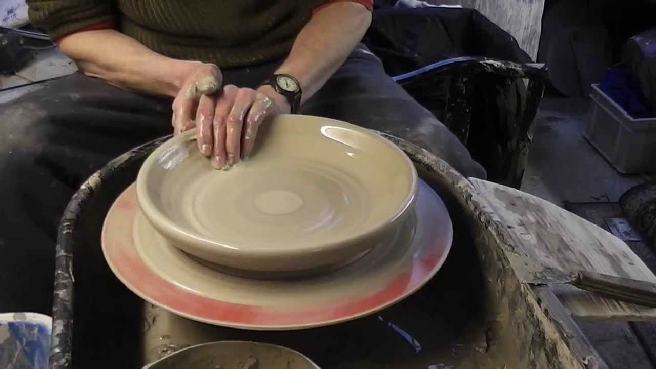 Making , Trimming & Decorating a large pottery plate on