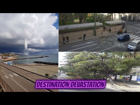 Spectacular waterspout turns into tornado in San Remo, Italy. Damage?