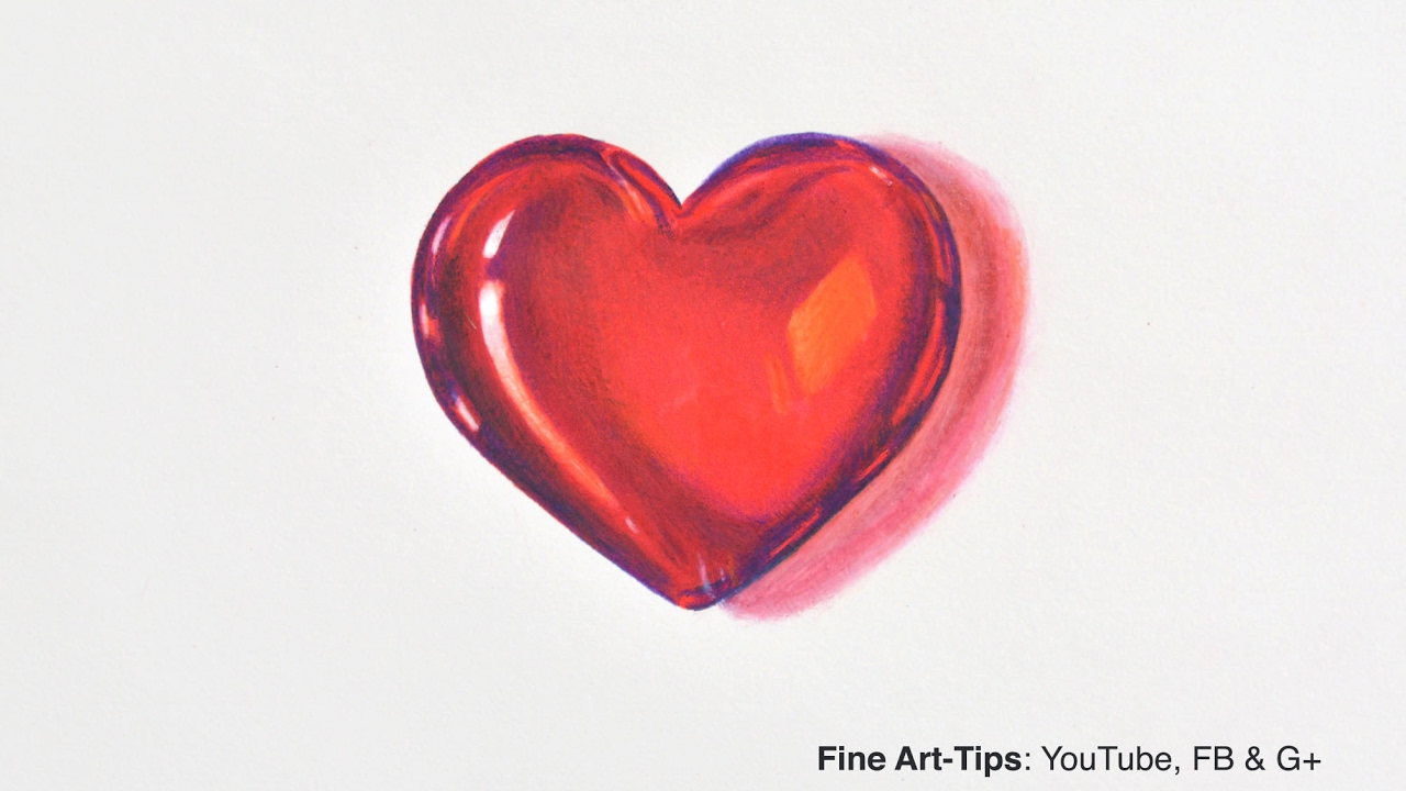 How to Draw a Crystal Heart Saint Valentine's DIY 3D