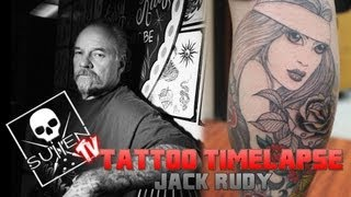 Tattoo Time Lapse - Jack Rudy - Tattoos Single Needle Black and Grey Lowrider Woman