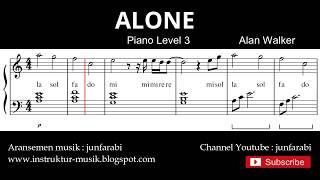 alone - tutorial not balok nada piano tingkat 3 - not lagu pop - instrument