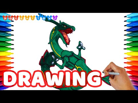 How to Draw Rayquaza, Pokemon Legendaries | Drawing Coloring Pages Videos for Kids
