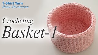 Crochet Basket With T-shirt Yarn