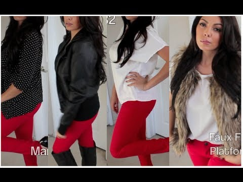 Celebrity Look for Less : How to Style Red Jeans - YouTube