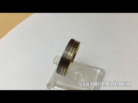 Yellow Gold Silver Tungsten Carbide Ring Double Offset Line Groove Pipe Cut Wedding Band Comfort Fit