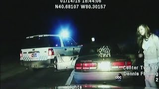 Dashcam video shows handcuffed woman steal police car
