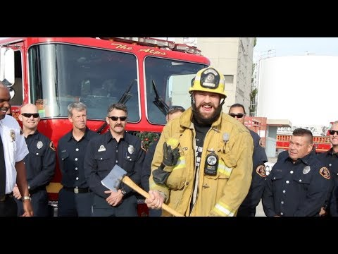 WHERE'S WILDER AT? -TYSON FURY PICKS UP AXE TURNS FIREMAN FURY IN L.A, GIVES TICKETS TO FIRE HEROES