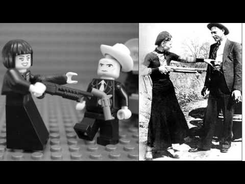 Bonnie Parker Clyde Barrow photo reproduction in Lego