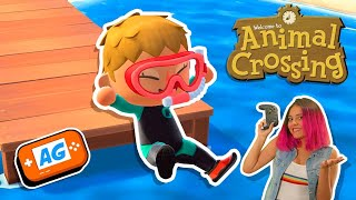 Nadando en Animal Crossing NEW Horizons  Actualización JULIO  en Español | Chapuzon Animal Crossing