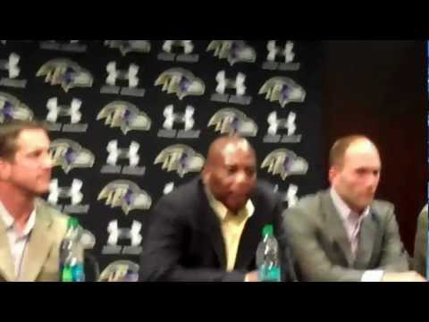 Ravens GM Ozzie Newsome speaks to the media after second round