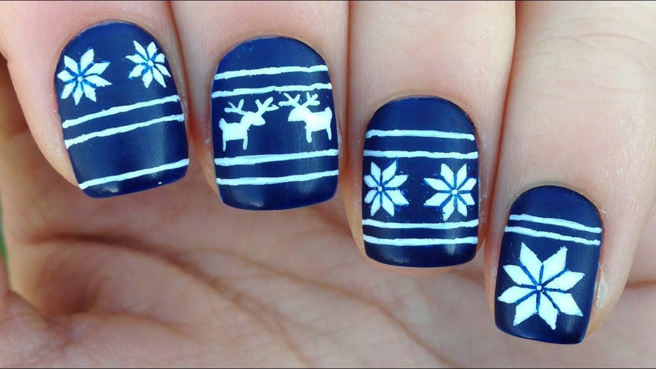 Nail Art Tutorial: Christmas Sweater / Fair Isle Print - YouTube