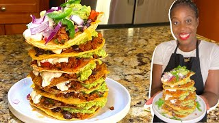 How To Make The Best VEGETARIAN Tostada Tower!!