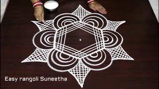 creative easy rangoli with dots * latest simple padi kolam * how to draw beautiful geethala muggulu