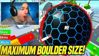 Getting To MAXIMUM BOULDER SIZE in BOULDER SIMULATOR!! *WOW LOL* (Roblox)