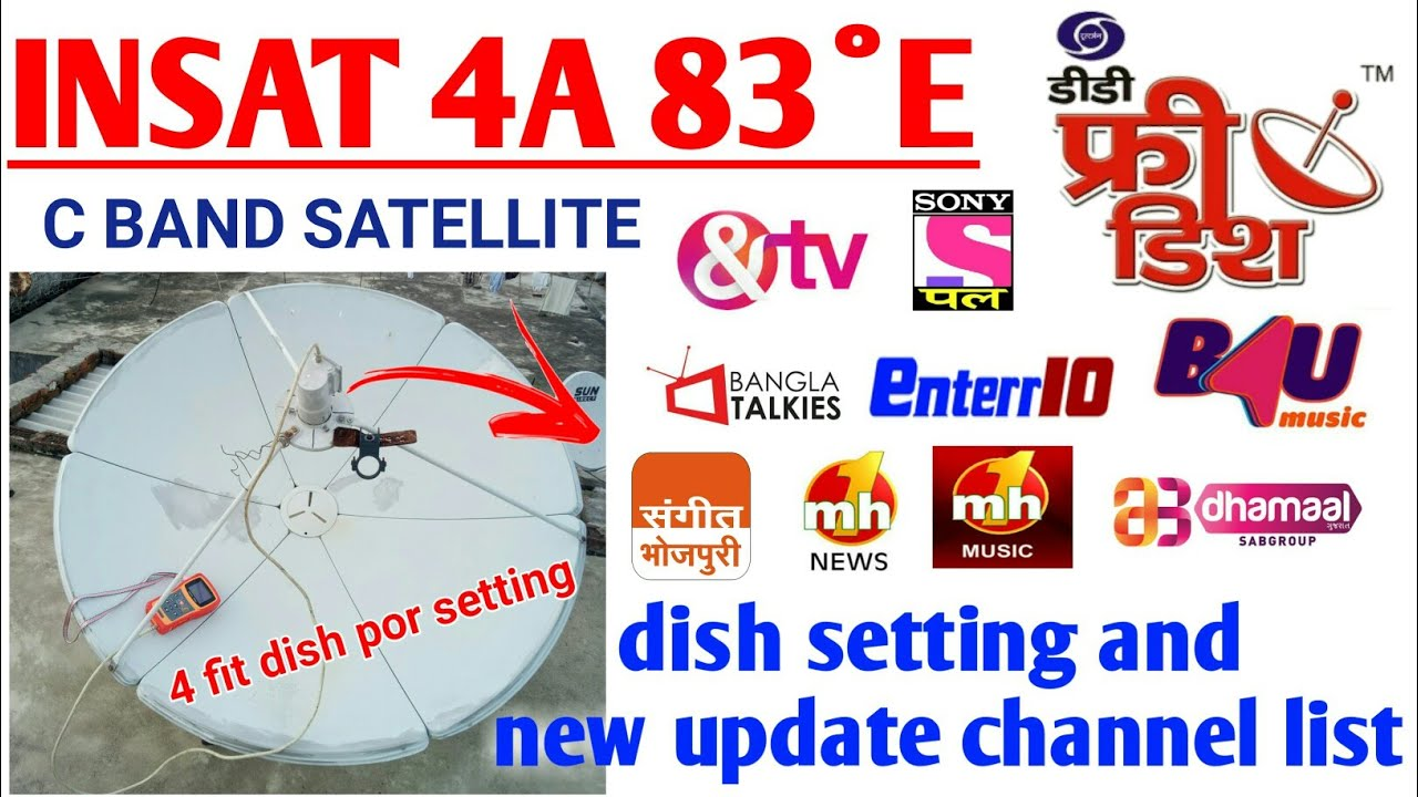 INSAT 4A 83°E Dish setting and new update channel list  Dish tech