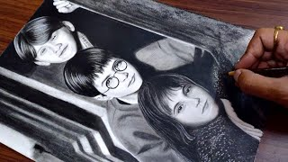 Drawing Harry Potter, Ron Weasley and Hermione Granger | NV Arts
